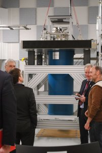 The UK delegation members on a tour of the TQT facility