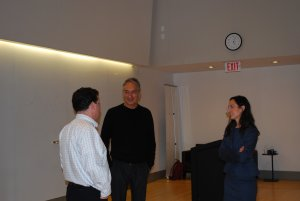 Dr. Dembo and Tracey Forrest talking to a lecture attendee.
